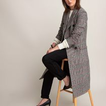 La Redoute★Double-Breasted Checked Coat