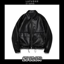 [LAFUDGESTORE]BUFFED LEATHER MINIMALPOCKET JACKET ライダース