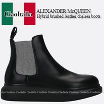 ALEXANDER McQUEEN Hybrid brushed leather chelsea boots