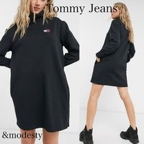 【Tommy Jeans】flagロゴ モックネックワンピース ブラック