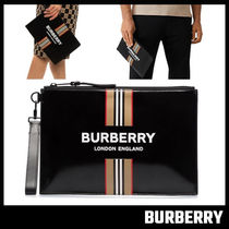 【BURBERRY】Logo and Icon Stripe Print Coated Canvas POUCH