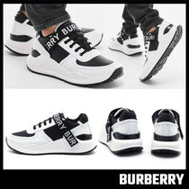 【BURBERRY】Logo Detail Leather and Nylon Sneakers