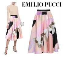 Emilio Pucci☆Flared embellished printed satin skirt