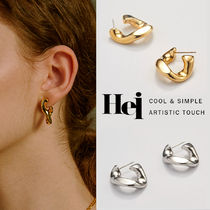 韓国発【Hei】chain unit hoop earring☆追跡付