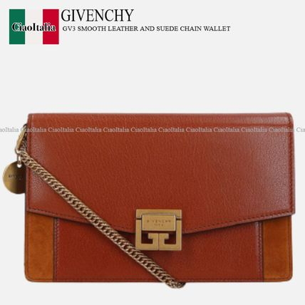GIVENCHY GV3 SMOOTH LEATHER AND SUEDE CHAIN WALLET