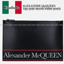ALEXANDER McQUEEN logo print smooth leather pouch