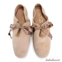 PORSELLI★Lace-up Ballet Flat 0.5cm*Nude Suede