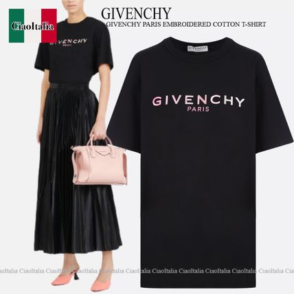 GIVENCHY GIVENCHY PARIS EMBROIDERED COTTON T-SHIRT