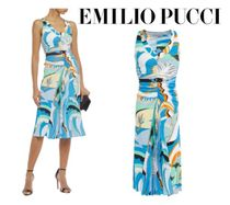 Emilio Pucci☆pleated crepe de chine-paneled ruched jersey