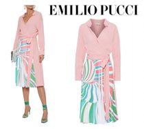 Emilio Pucci☆Wrap-effect pleated printed silk-blend crepe