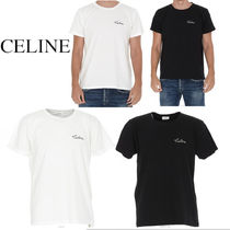 CELINE T-SHIRT WITH CELINE EMBROIDERED IN COTTON