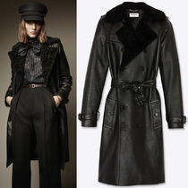 WSL1820 LOOK10 TRENCH COAT IN GRAINED LEATHER AND SHEARLING