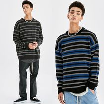 [ATTENTIONROW] FLOATING STRIPE OVER-FIT WOOL KNIT SWEATER