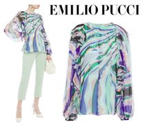 Emilio Pucci☆Ruffled printed silk-georgette blouse