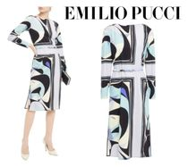 Emilio Pucci☆Belted printed wool-blend jersey dress