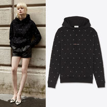 WSL1832 SAINT LAURENT LOGO HOODIE WITH EYELETS
