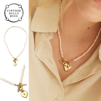 ◇VINTAGE HOLLYWOOD◆Open Your Heart Pearl Necklace