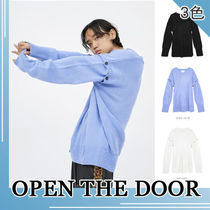 OPEN THE DOOR★button 2way v-neck knit_3COLOR
