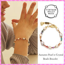 【VINTAGE HOLLYWOOD】Autumn Pearl n Crystal Beads Bracelet