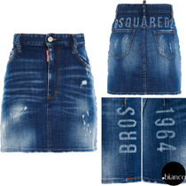 関税込DSQUARED2 2020FW Medium Logo Wash Dalma Mini Skirt