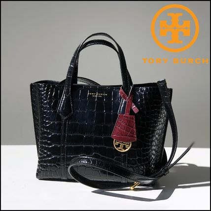 即発★TORY BURCH★PERRY CROC EMBOSSED SMALL TOTE 74594