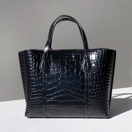 Tory Burch ショルダーバッグ・ポシェット 即発★TORY BURCH★PERRY CROC EMBOSSED SMALL TOTE 74594(4)