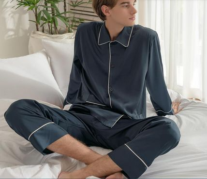 DECO VIEW ルームウェア・パジャマ 【DECO VIEW】Solid Silky Pajama Set (men)(2)
