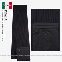 PRADA NYLON POCKET-DETAILED WOOL SCARF