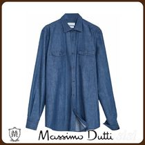 MassimoDutti♪SLIM FIT COTTON DENIM SHIRT WITH POCKETS