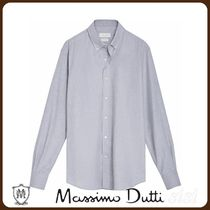 MassimoDutti♪SLIM FIT MELANGE ELBOW PATCH SHIRT