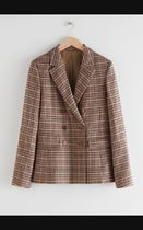 Wool Blend Plaid Blazer / Beige Plaid