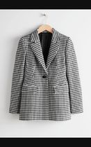 Tailored Gingham Blazer / Black