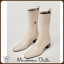MassimoDutti♪CREAM LEATHER SOCK ANKLE BOOTS WITH SQUARE TOE