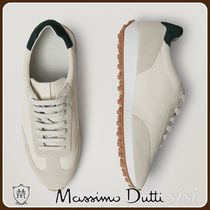 MassimoDutti♪TUMBLED LEATHER TRAINERS WITH GREEN HEEL