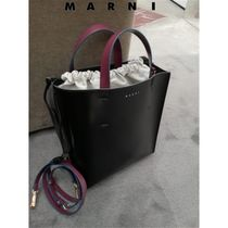 マルニ◆MUSEO SHOPPING BAG CALF LEATHER INTERIOR DRAWSTRING