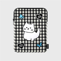 【earpearp】韓国発★ Awesome cat black check iPad ポーチ