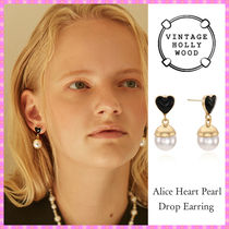 【VINTAGE HOLLYWOOD】Alice Heart Pearl drop Earring〜ピアス