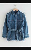 Belted Oversized Denim Jacket / Mid Blue