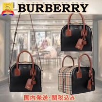 【SALE!!】Burberry Small Leather and Vintage Check Cube Bag