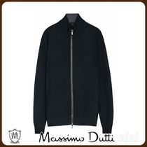 MassimoDutti♪COTTON/SILK CARDIGAN WITH LEATHER DETAIL