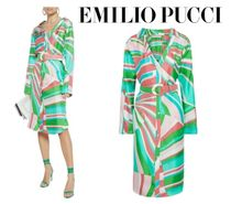 Emilio Pucci☆Belted printed silk-twill shirt dress