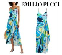 Emilio Pucci☆Asymmetric ruched printed voile dress