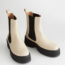 """""""& Other Stories"""" Chunky Leather Chelsea Boots LightBeige"""