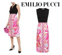 Emilio Pucci☆Paneled ponte and printed silk-twill dress