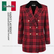 SAINT LAURENT double-breasted prince of wales wool jacket