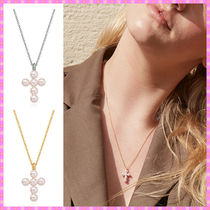 【VINTAGE HOLLYWOOD】Mini Cross Pearl Necklace〜ネックレス