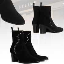 20冬 新作★CELINE★ZIPPED BOOTS WITH STUDS CALF VELVETブーツ