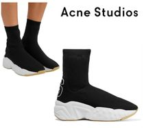 Acne Studios☆Akune leather-appliqued stretch-knit high-top