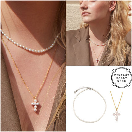 ◇VINTAGE HOLLYWOOD◆セットMini pearl cross Layered Necklace