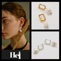 【Hei】20fw Square pearl drop earring ピアス (gold/white)